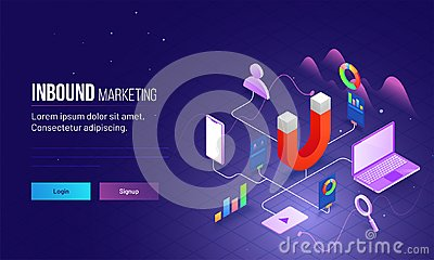 Inbound Marketing based isometric design with magnet as product Stock Photo