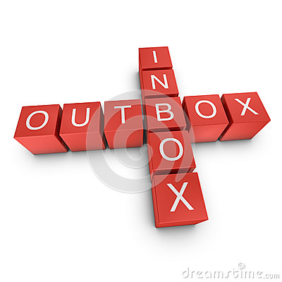 Inbox and outbox 3D crossword on white background