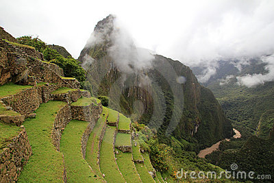 The  Inca terraces  of Machu Picchu and clouds