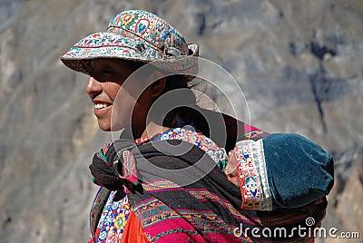 Inca woman in Colca Canyon, southern Peru Editorial Stock Photo