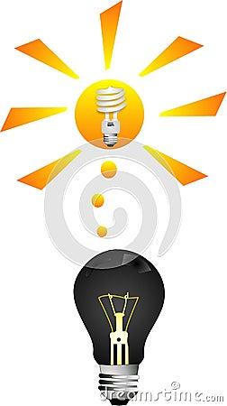 Incandescent to CFL Light bulb Illustration