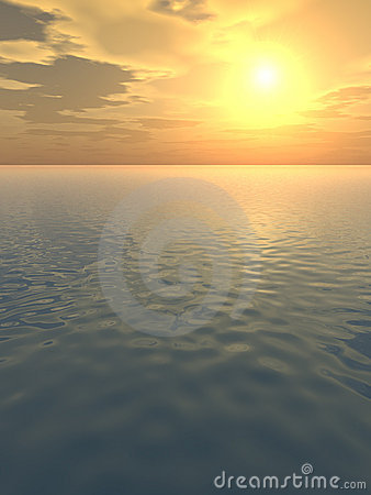 Incandescenza arancione sopra il mare calmo