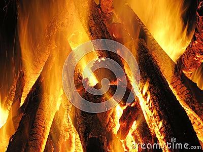 Incendie, cheminée, flamme,