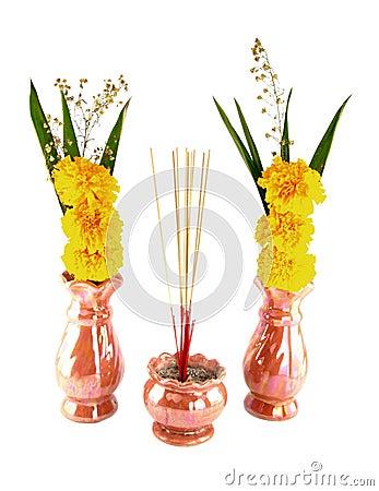 Incense burner and flower