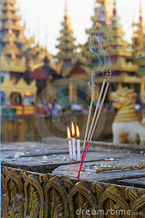 Incense and burning candles