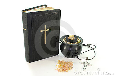 Incense with incense bowl and the Bible