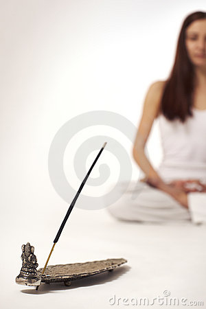 Incense stick with woman in lotus posture