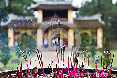 Incense sticks in Thien Mu Pagoda, Hue, Vietnam