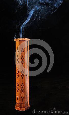 Incense tower with smoke
