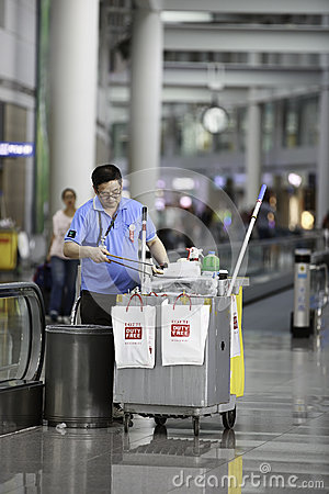 Incheon Airport Janitor Editorial Photography
