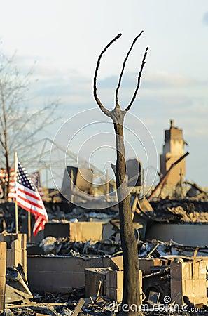Incêndio da casa Fotografia Editorial