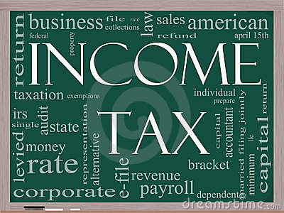 Income Tax Word Cloud concept on a Blackboard