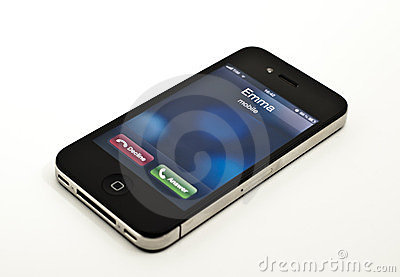 Incoming call on iPhone Editorial Stock Photo