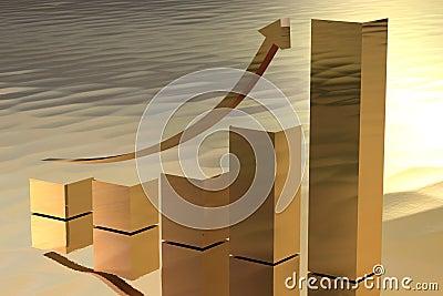 Increasing Gold Bars As Symbol For Wealth