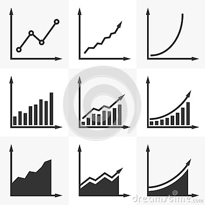 Free Increasing Graph.  Set Of Vector Diagrams With A Rising Trend. S Stock Photos - 89052493