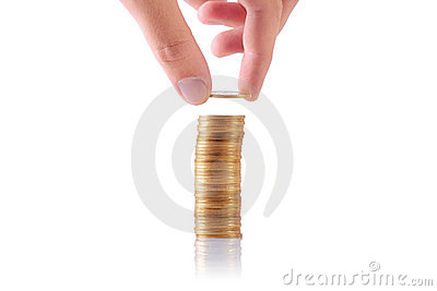Increasing stack of coins