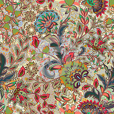 Free Incredible Color Flower Pattern. Multicolored Bright Floral Background. Vintage Seamless Pattern In Provence Style. Stock Image - 91402861