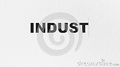Ind?stria 4 0 palavras datilografadas no vídeo do close up 4k do tela de computador ilustração royalty free