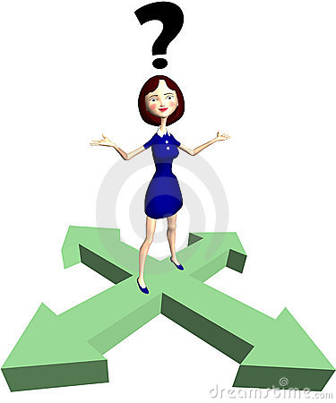 Indecision cartoon woman question arrows