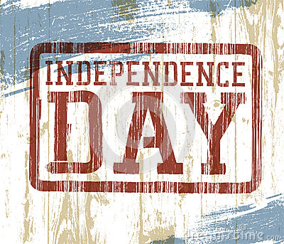 Independence day stamp on wooden background