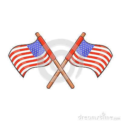 Independence day usa flags icon, cartoon style Vector Illustration