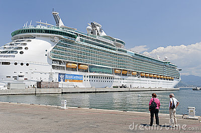 Independence of the Seas cruise ship docked at Aja Editorial Stock Image