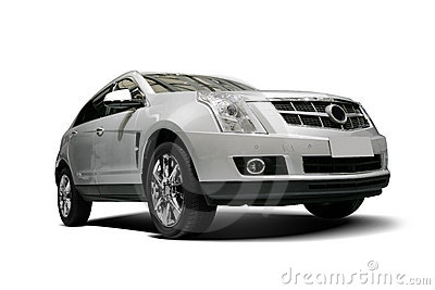 A Independent white static SUV in white background