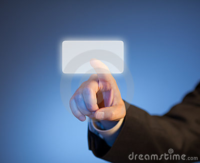 Index finger pressing abstract virtual button