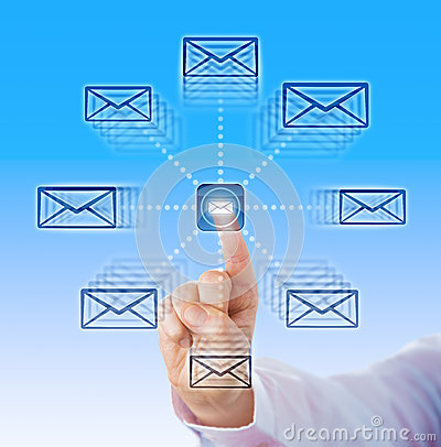 Free Index Finger Sending Email Icons Into Cyber Space Stock Photography - 58941692