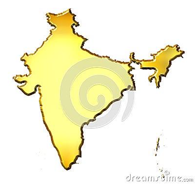 India 3d Golden Map
