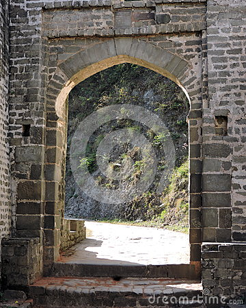 India Architecture Exterior Arched Door Kangra Fort