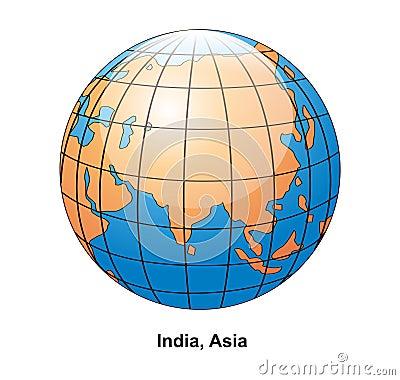 India and Asia Globe