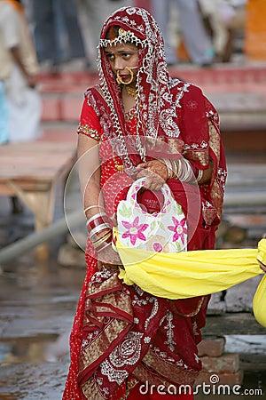 An India bridal in red traditional dress,Vanarasi Editorial Image