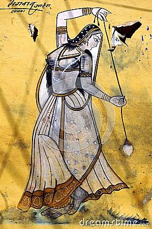 India, Bundi, Palace: painting on a wall