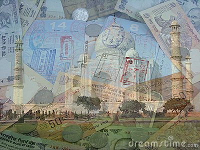 India Currency Passports and Taj Mahal