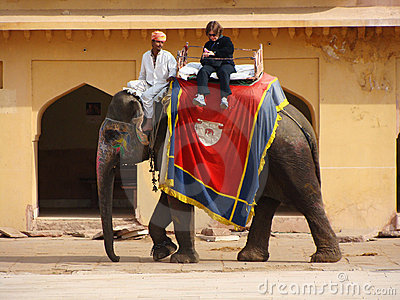India, elephant riding Editorial Stock Image