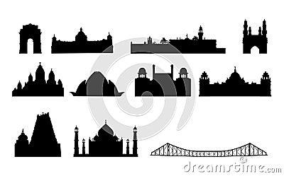 India famous landmarks vector
