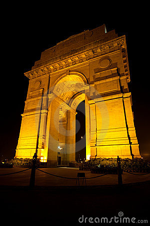 India Gate Moon Memorial Night Vertical