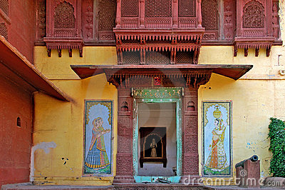 India; Jaisalmer; detail of a palace
