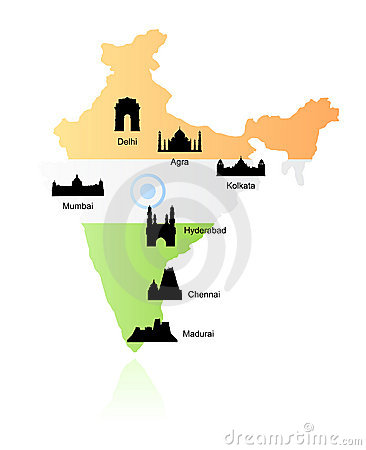 India landmarks on map vector