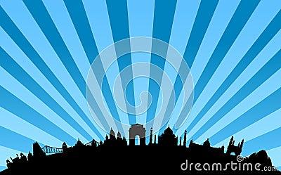 India landmarks skyline vector