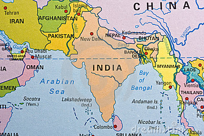 India on a map