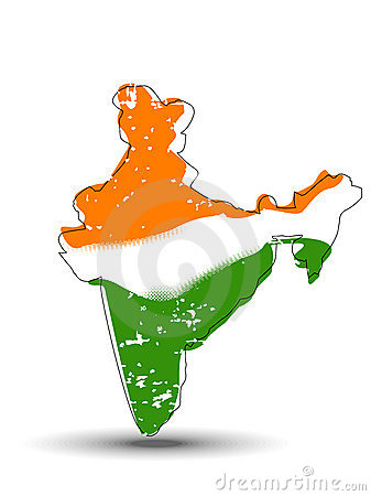 An India map coverd with Indian Flag.