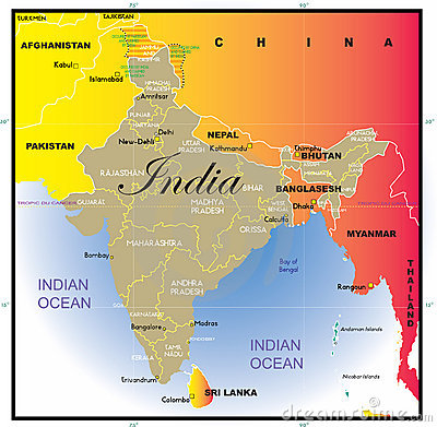 India map with states.