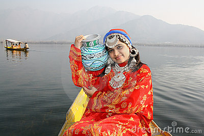 India Native Girl Carrying Water on Blue Color Pot