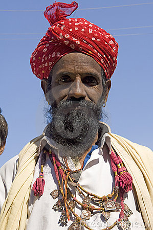 India, Rajasthan, Thar desert: Colourful turban Editorial Image