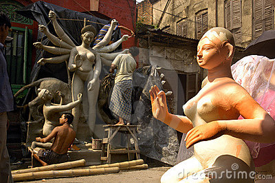 India s Clay Idols-Durga Festival Editorial Stock Photo