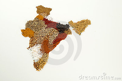 India Spice Map Royalty Free Stock Photography - Image: 15132787