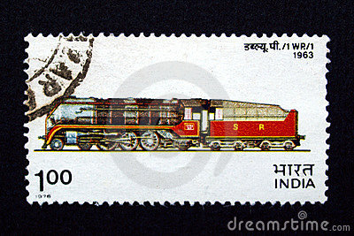 India stamp with train
