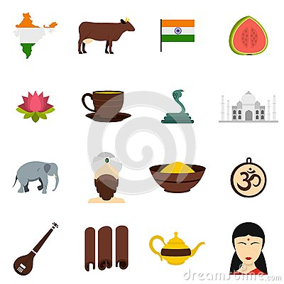 India travel icons set in flat style Vector Illustration